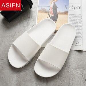 Image 5 - ASIFN Summer Home Men Slippers Simple Black White Non slip Bathroom Slides Flip Flops Indoor Women Platform Shoes Beach Slippers