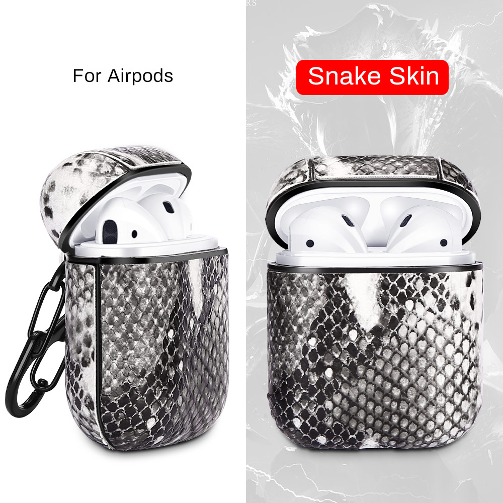 עבור apple עור נחש אוזניות Case עבור Apple AirPods מגן אנטי-איבדו אוזניות Bluetooth אלחוטית Pod האוויר בתוך שקיק אופנה Carcasa Bag (2)