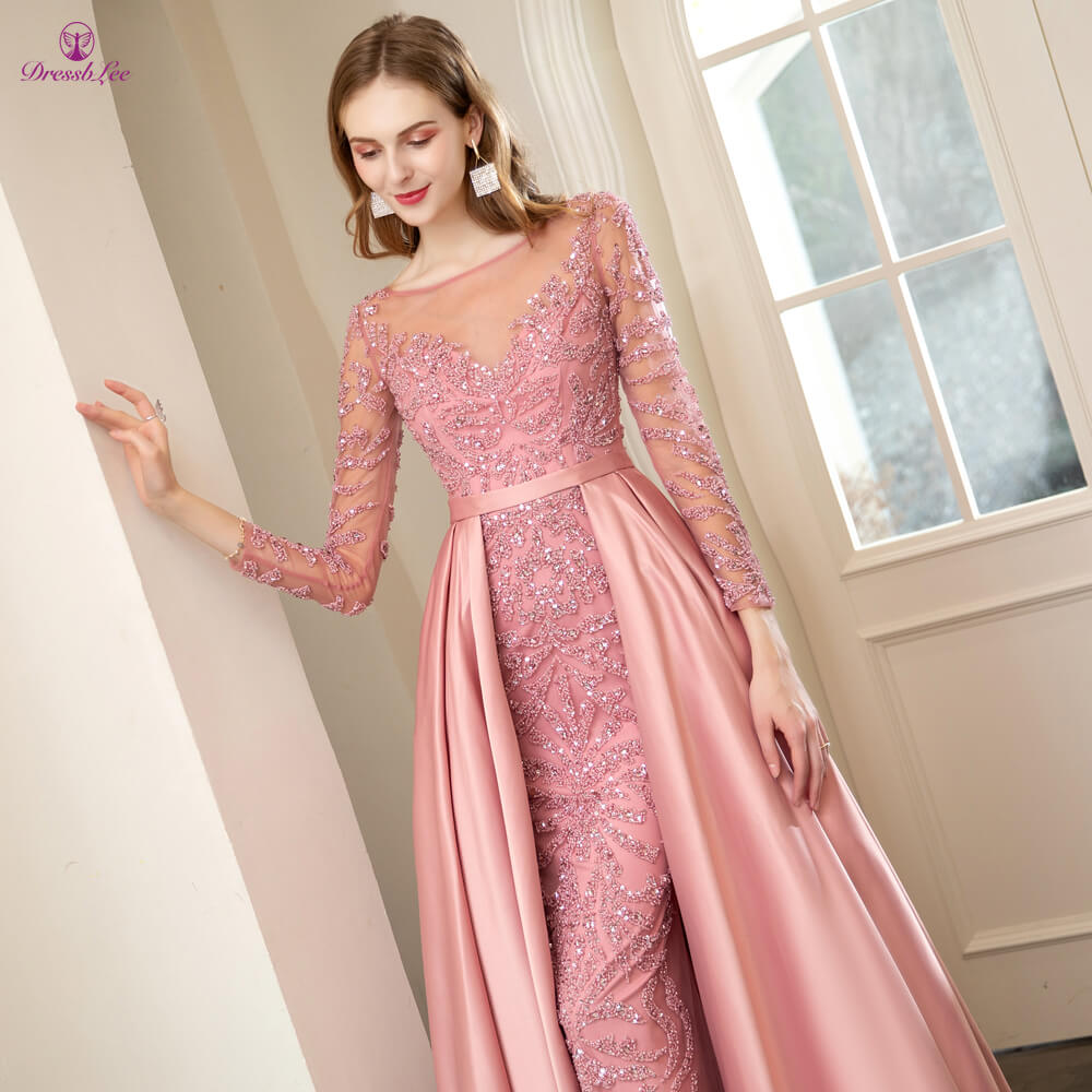DressbLee New Arrival Full Sleeve Prom Dresses Sequined Crystal Pearl Embroidery Dubai Prom Dress Long Formal Party Gowns