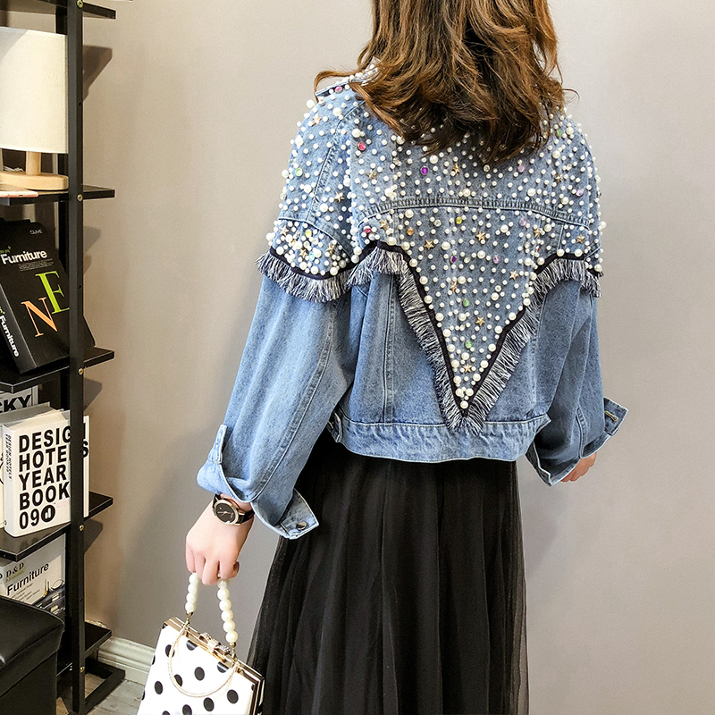 Women Spring Autumn Vintage Jeans Jacket With Beading Diamonds Tassel Lady Streetwear Loose Denim Jackets Coat Oversized Outwear