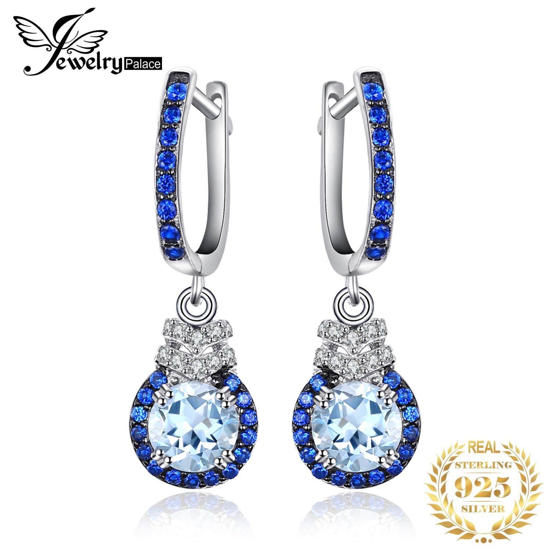 JewelryPalace Genuine Blue Topaz Drop Earrings 925 Sterling Silver Earrings For Women Gemstones Earings Fashion Jewelry 2019