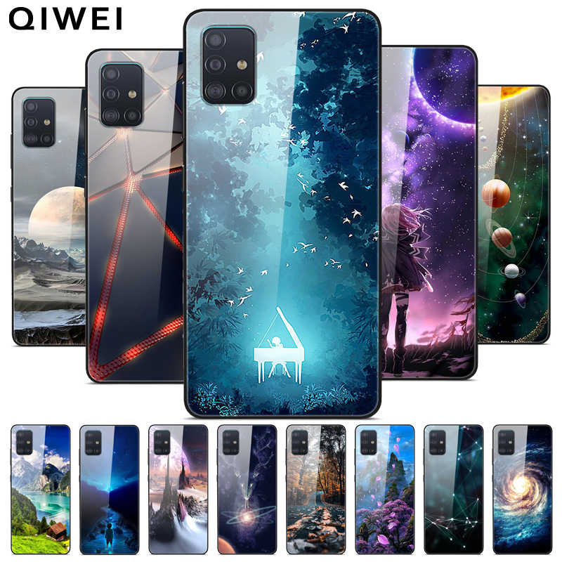For Samsung A51 Case Tempered Glass Hard Back Cover For Samsung Galaxy A71 Phone Cases Silicone Bumper Fundas A 51 2019 A515