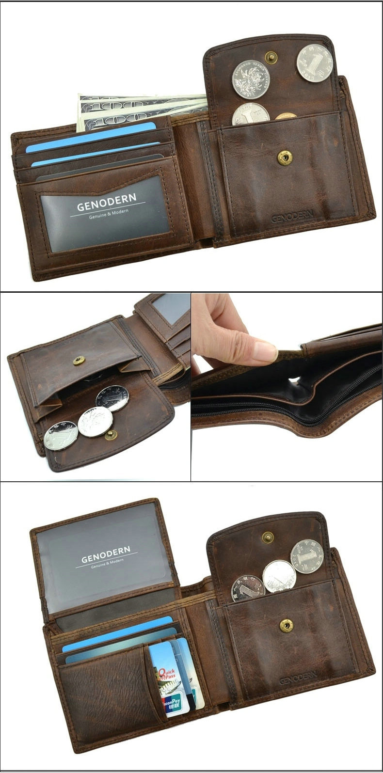 H6a190b61f44d4b49909c6c7395ed9a4ds - GENODERN Cow Leather Men Wallets with Coin Pocket Vintage Male Purse Function Brown Genuine Leather Men Wallet with Card Holders