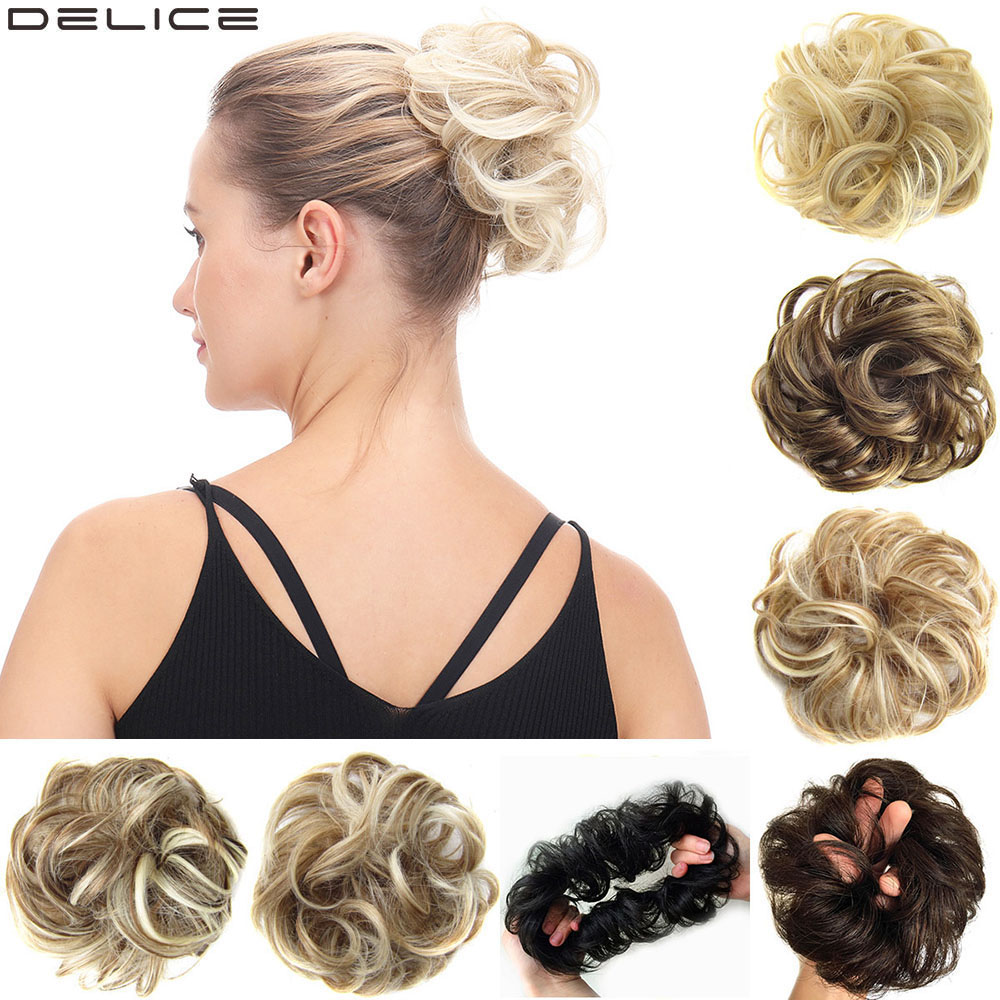 Delice Women's Curly Chignon With Elastic Rubber Band Synthetic Scrunchie Wrap Hair Messy Bun Hairpieces