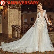 BAZIIINGAAA robe de mariée sans manches col rond détachable queue robe de mariée sirène dentelle Applique soutien de mariée sur mesure