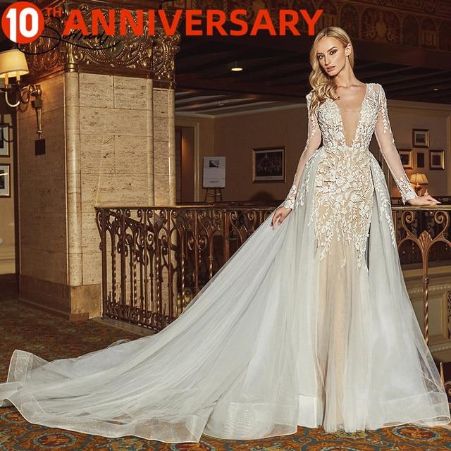 BAZIIINGAAA חתונה שמלת שרוולים עגול צוואר להסרה זנב חתונה שמלת בת ים תחרת Applique הכלה תמיכה תפור