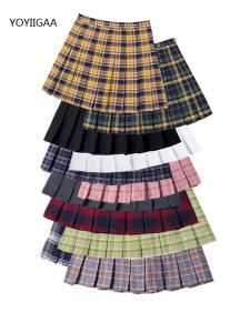 Summer Skirt Waist Plaid Slim Women Ladies Girls Fashion Pleated Casual Sweet