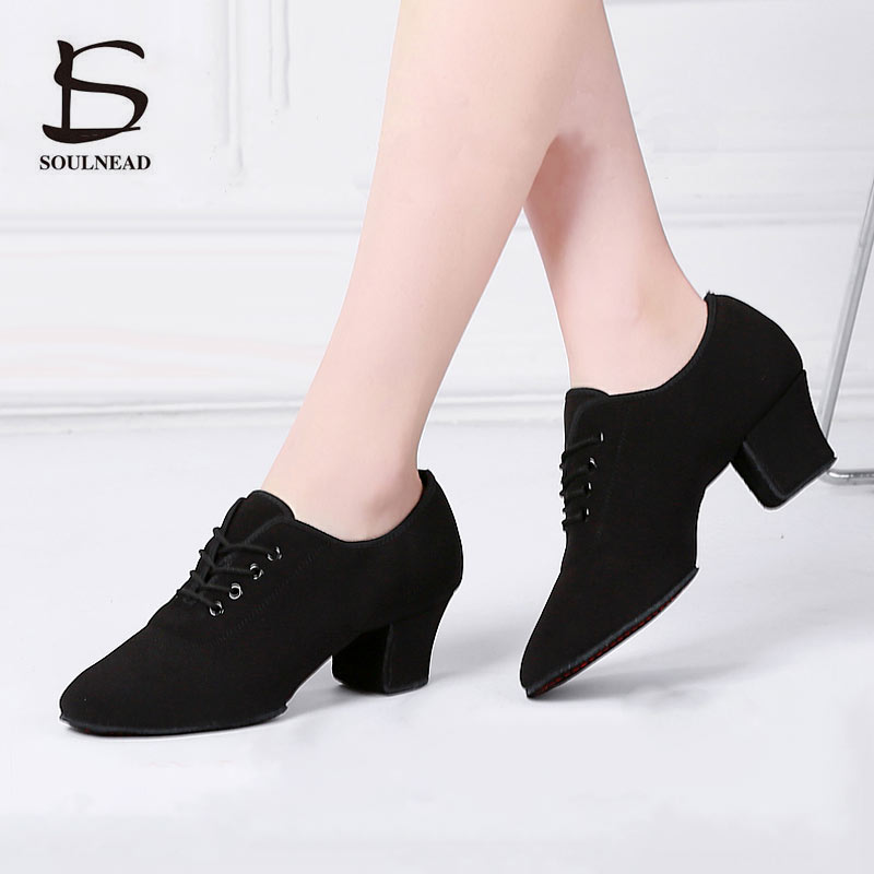 Adult New Ladies Latin Dance Shoes Black Red Ballroom Tango Salsa Dancing Shoes For Women Teachers Exrecise Modern Dance Shoes