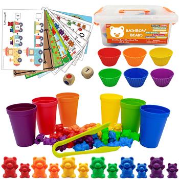 Montessori Toys Box Rainbow Stack kubki liczenie niedźwiedzi kolor wagi zabawki sensoryczne Baby Mintessori zabawki edukacyjne gry dla dzieci tanie i dobre opinie Brozebra CN (pochodzenie) Do not swallow 2-4 lat Chiny certyfikat (3C) Zwierzęta i Natura BZSK0003 Learn color Sense of weight