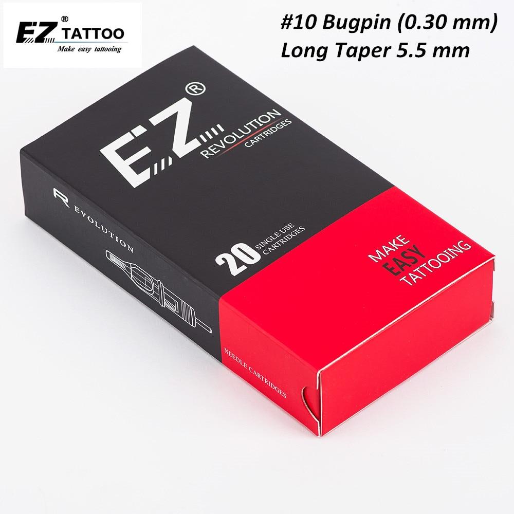 EZ Revolution Tattoo Needle Cartridge #10 Bugpin Long Taper Curved Magnum Tattoo Needle For Cartridge Tattoo Machine 20PCS/Box