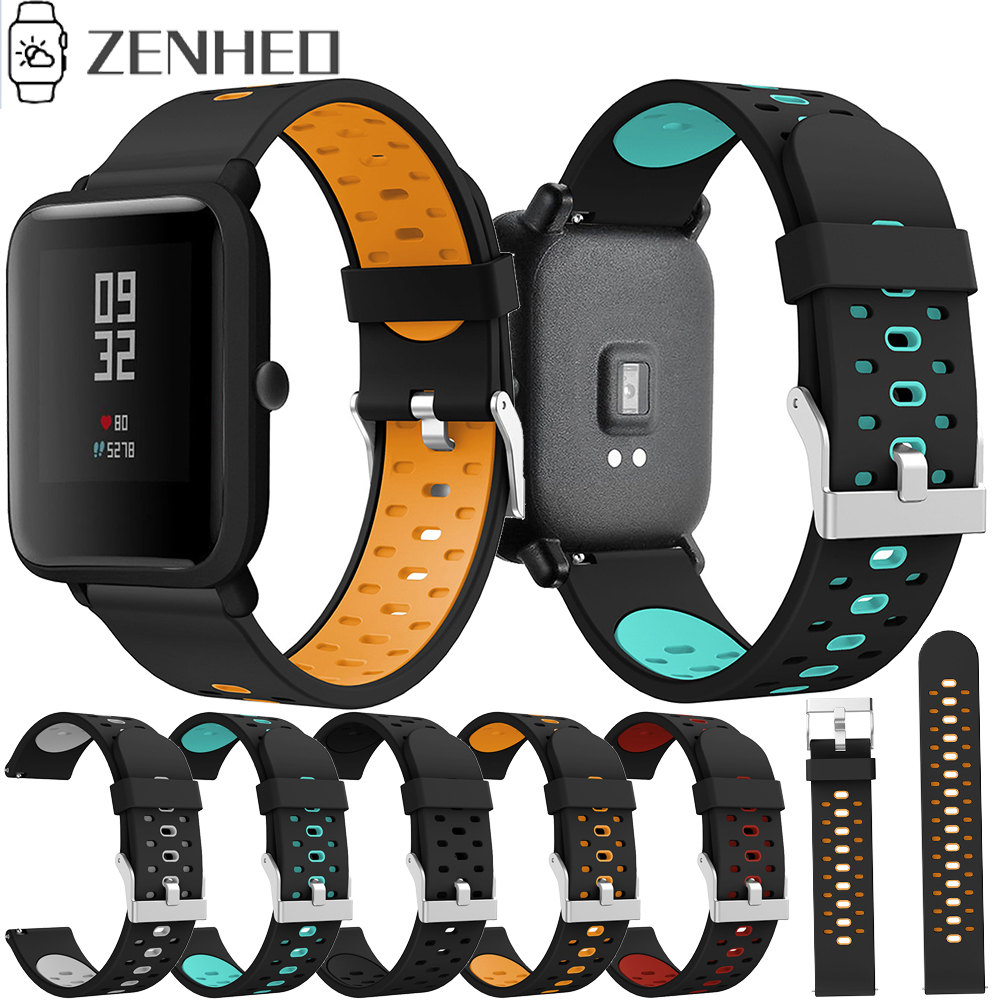 <font><b>20mm</b></font> <font><b>Silicone</b></font> Strap For Xiaomi Huami Amazfit Bip Youth Smart Watch <font><b>Band</b></font> Replacement Watchband Sport Breathable <font><b>Bracelet</b></font> Belt image