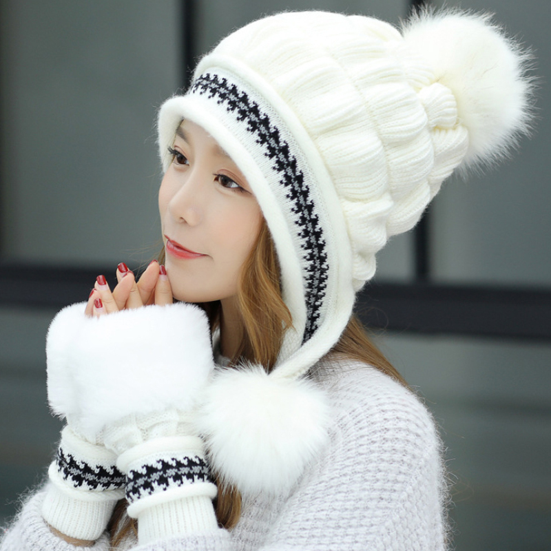 HT2690 Autumn Winter Hat Gloves Set Fur Pompoms Knitted Ear Flap Cap Ladies Fur Knitted Hat And Gloves Female Winter Accessories