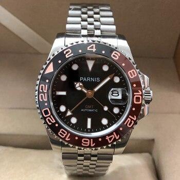 Parnis 40mm Automático Homem Mecânico Relógios dos homens de Cristal de Safira GMT 2019 Diver Assista relogio masculino Homens De Luxo Papel relógio