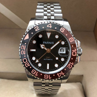 Parnis 40mm Automatic Mechanical Men's Watches GMT Sapphire Crystal 2019 Diver Man Watch relogio masculino Role Luxury Men Clock