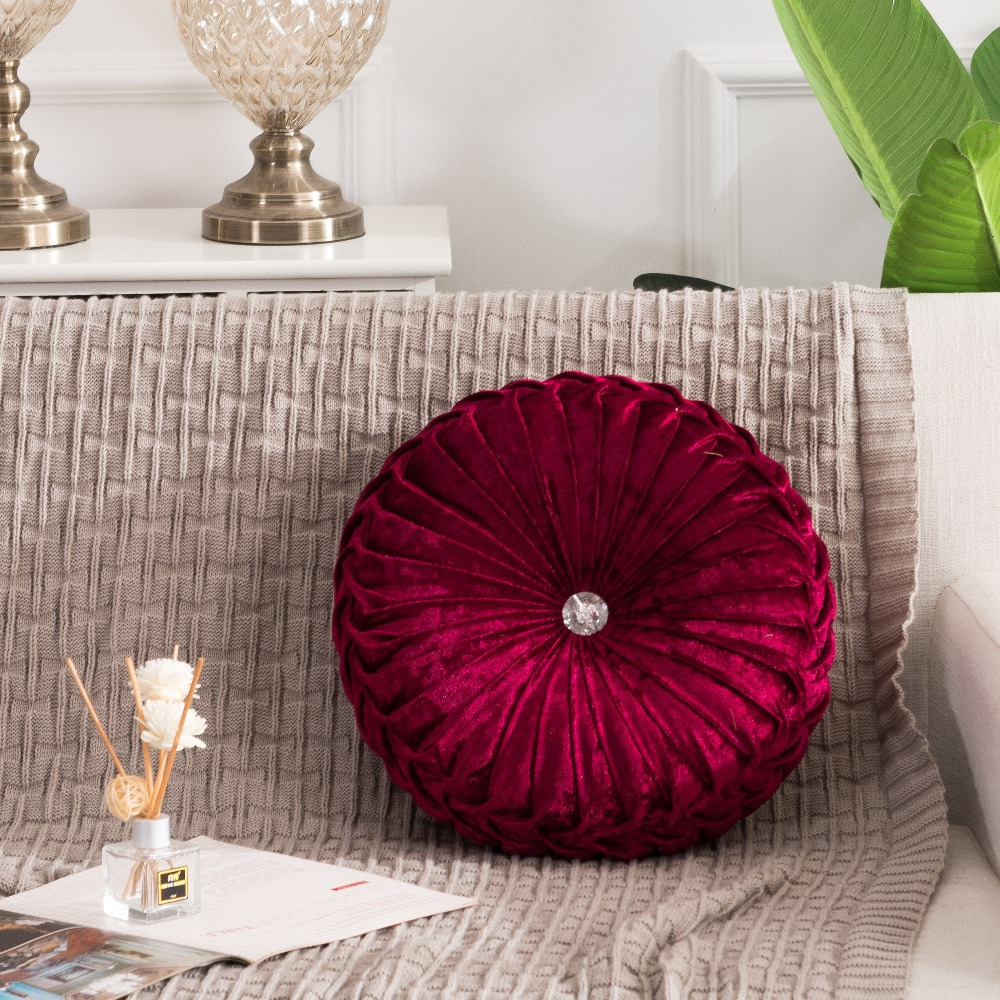 H6a195c4e3b204fc2894346aed9b7c9a1j European Pastoral Style Pumpkin Round Seat Cushion/Back Cushion or as Sofa pillow Velvet Fabric 35x35cm 9 Colors