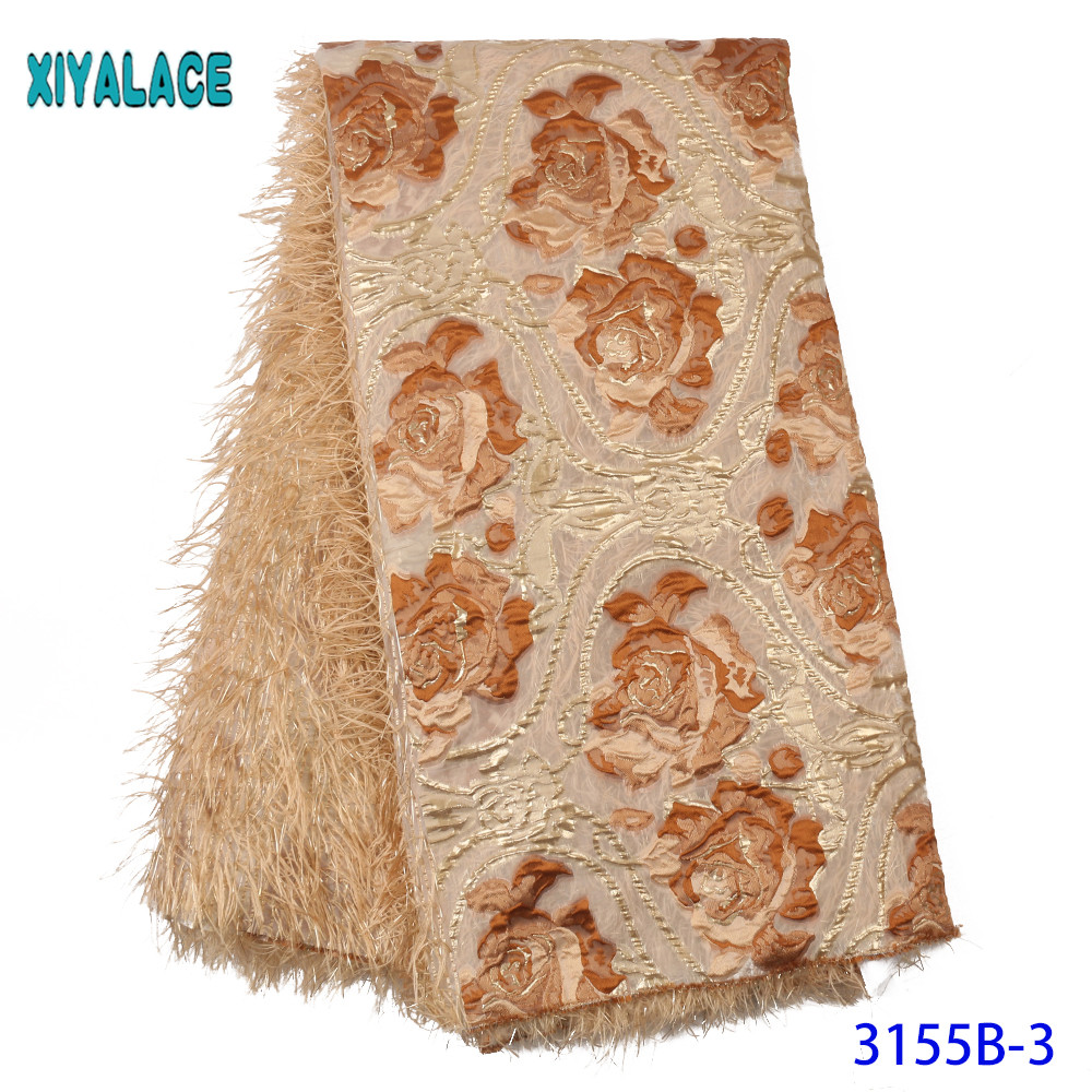 Fashion African Lace Fabric High Quality Brocade Lace Fabric Unique Pattern Lace With Feather KS3155B