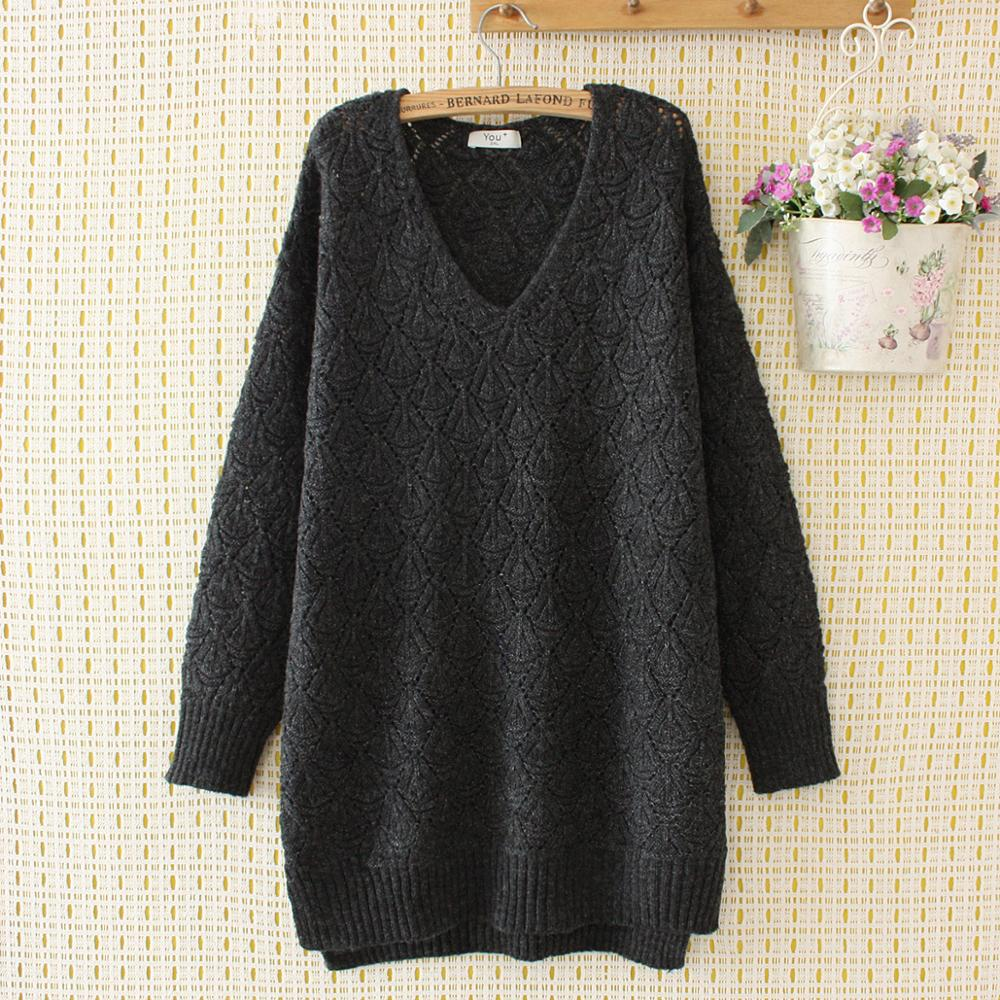 Plus Size Wool Hollow Out V-neck Loose Women Sweaters 2020 New Autumn Winter Knitted Pullovers Tops Female Navy Gray Khaki