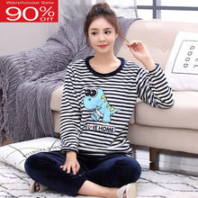 Plus size lounge set women coral fleece sleepwear 2020 new autumn and winter female cartoon pajama sets teenager girl 3xl 4xl(China)