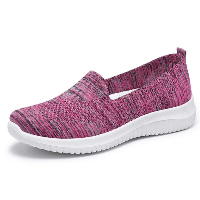 2020 New Fashion Sneakers Women Shoes Breathable Mesh Slip-on Flat Shoes Women Shoes Plus Size Loafers Shoes Zapatillas Mujer