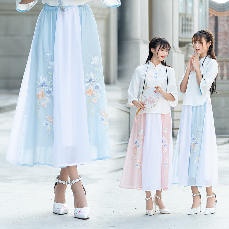 D1883 Artistic Chiffon Maxi Dress Women's 2019 Spring Summer Embroidered Joint Skirt Women's Type A Skirt