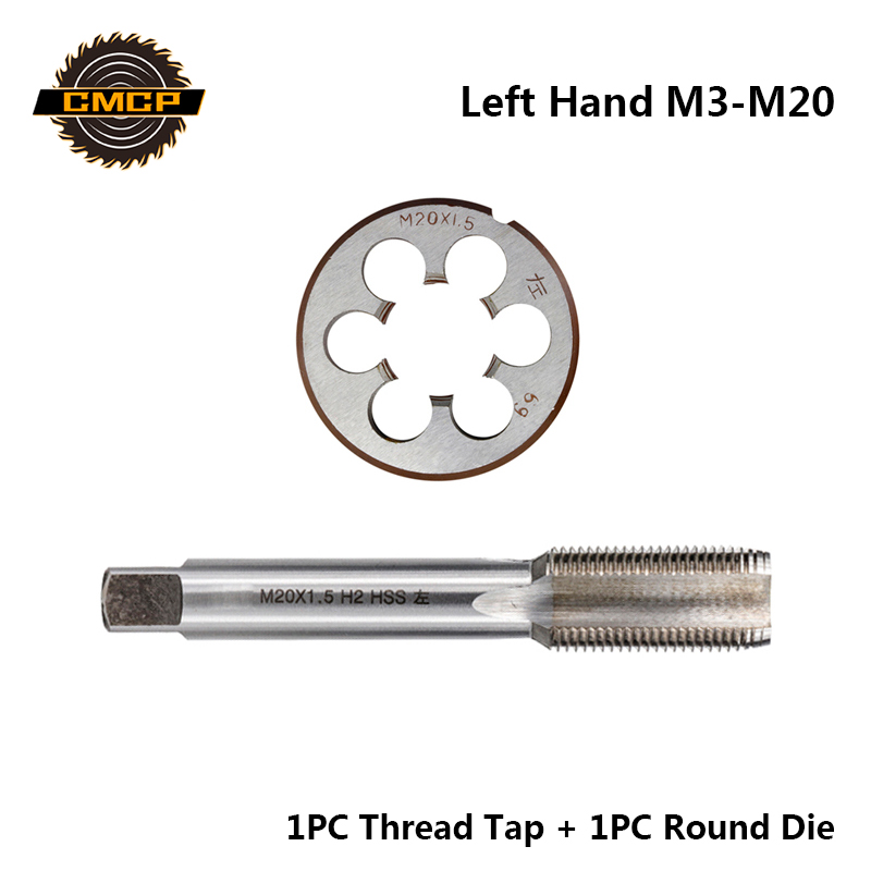 CMCP 2pcs HSS M3 M6 M8 M10 M12 M14 M16 M18 M20 Metric Thread Tap And Die Set Left Hand Machine Screw Tap Drill Bit Round Die