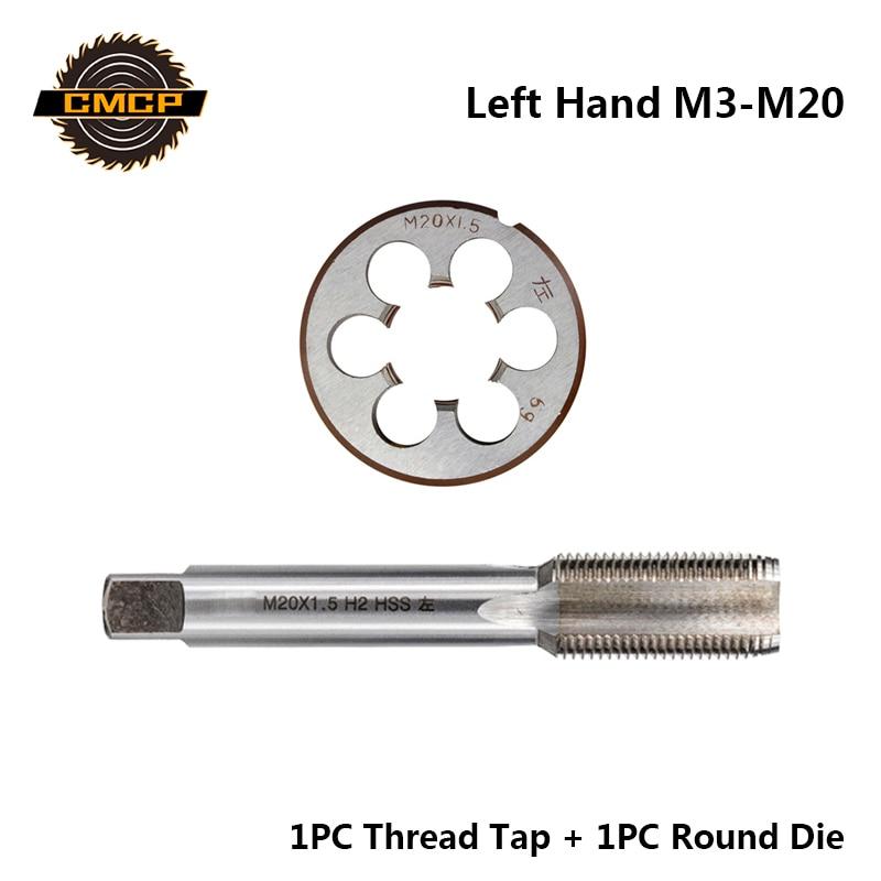 CMCP 2pcs HSS M3 M6 M8 M10 M12 M14 M16 M18 M20 Metric Thread Tap And Die Set Left Hand Machine Screw Tap Drill Bit Round Die