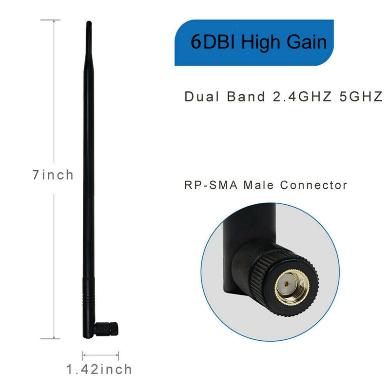 Dual Band 2.4GHz 5GHz 5GHz WiFi 6dBi RP-SMA Antenna for WiFi Extender Booster