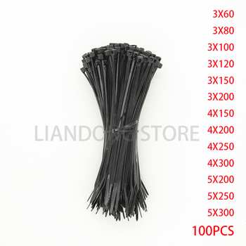 Self-Locking Plastic Nylon Wire Cable Zip Ties 100pcs Black Cable Ties Fasten Loop Cable Various specifications 100pcs white self locking cable tie high quality nylon fasten zip wire wrap strap 2 5x100mm 2 5x150mm plastic