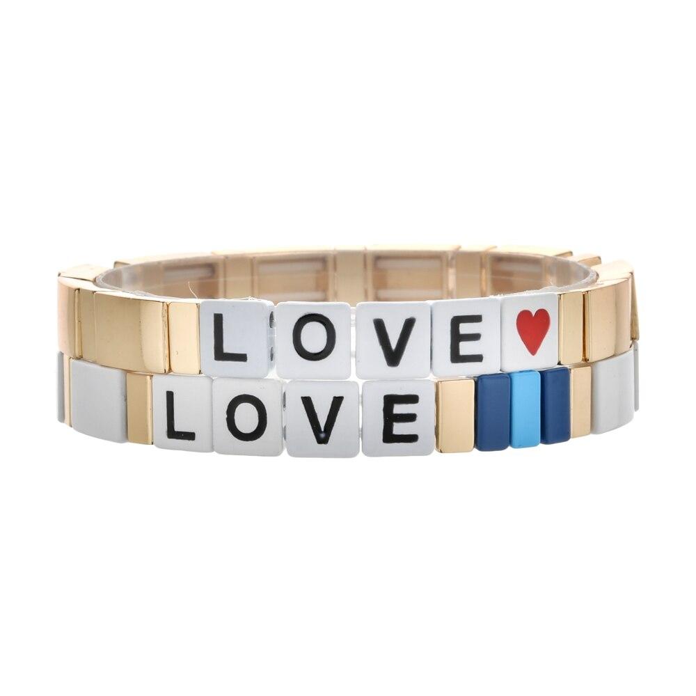 ZMZY Gold Color DIY Bracelets for Women Bohemian Handmade Elastic Stretch Stack Bracelet Cuff Enamel Tile Letter Beads Bracelet(China)