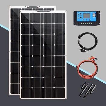 200W Flexible Solar Panel system for Home 100W Solar Power kit for Camping Car 12V 18V 24V Flexible Solar Powered Charger Kits