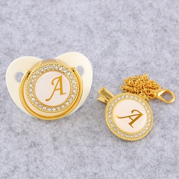 Golden Initial Letter Baby Pacifier With Chain Clip Luxury Sucette Bebe BPA Free White Chupete For 0-18 Months