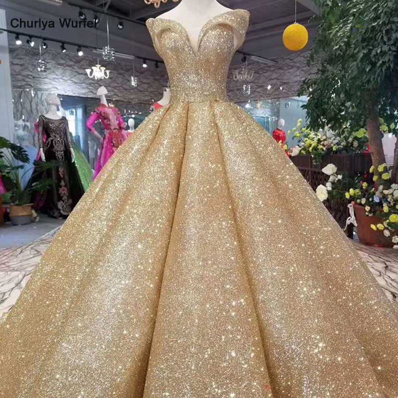 LSS107 luxury dubai shiny dress women occasion off the shoulder sweetheart golden glitter ball dress curve shape high quality
