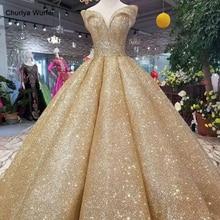 LSS107 luxury dubai shiny dress women occasion off the shoulder sweetheart golden glitter ball curve shape high quality