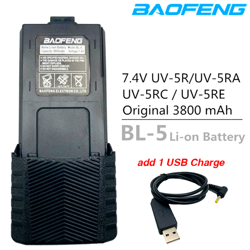 Original BL-5 Baofeng UV-5R Battery 3800mAh Battery Charger Cable USB Cable For BF-F8 Uv 5r Uv5r UV-5RE UV-5RA 5RB 5RL F8+