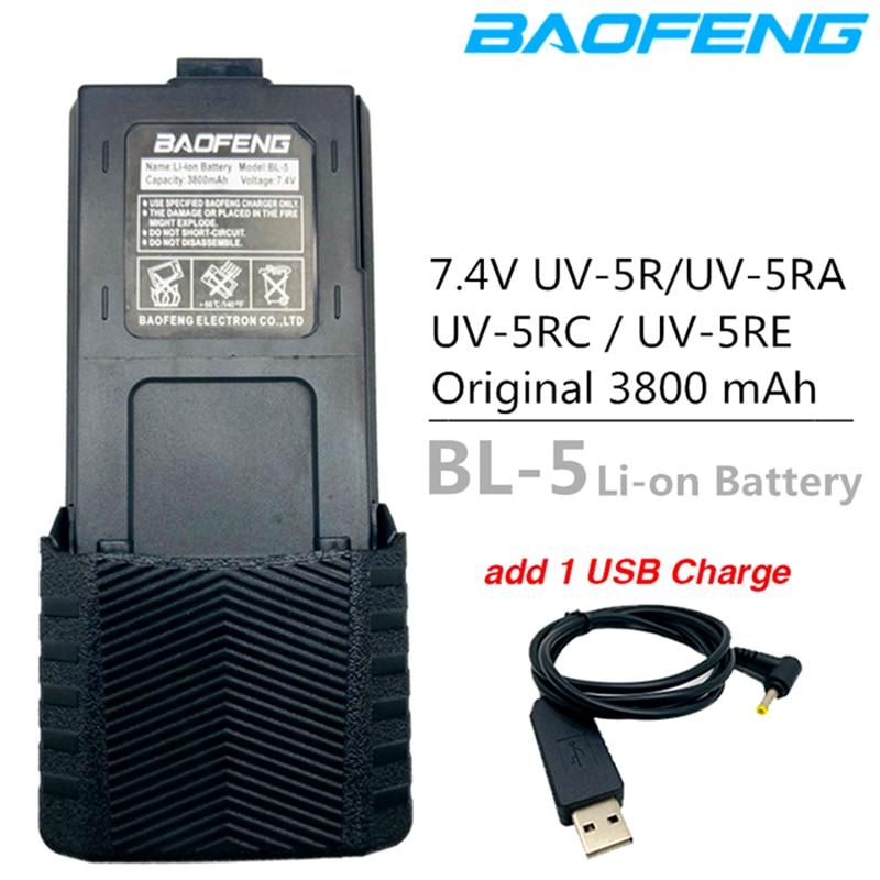 Original BL-5 Baofeng UV-5R Battery 3800mAh Battery Charger Cable USB Cable For BF-F8 Uv 5r Uv5r UV-5RE UV-5RA 5RB 5RL F8+