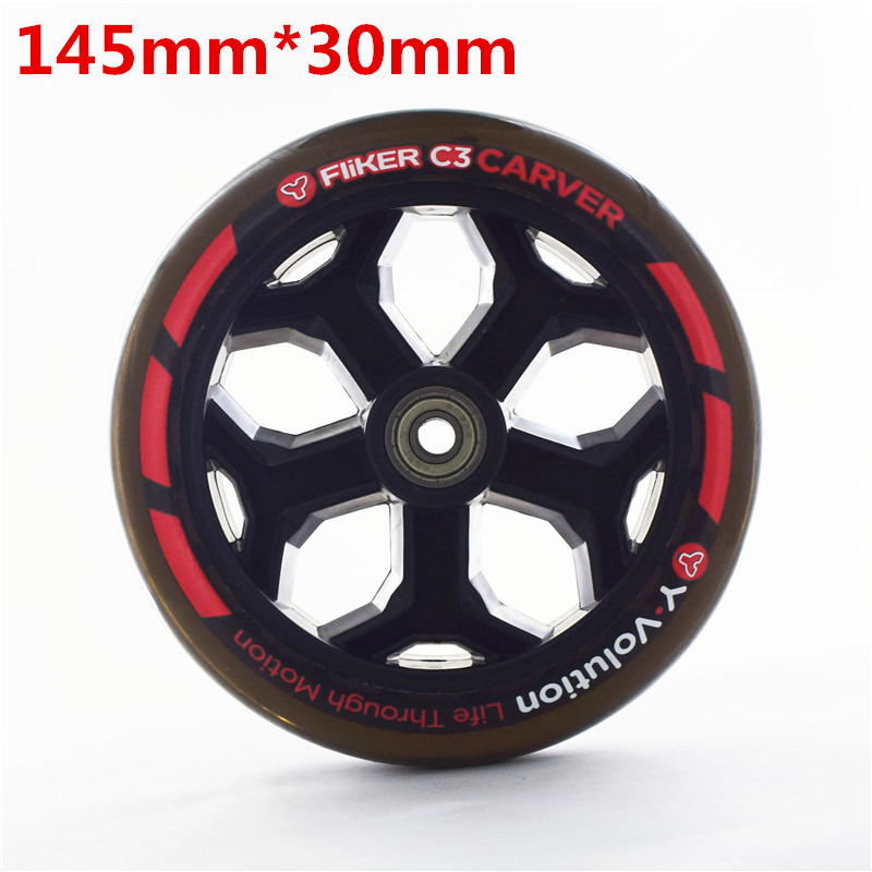 145mm handcart wheel with 30mm thickness scooter wheels 88a elastic durable PU skating tyre with ABEC-7 608 bearing scooter tire