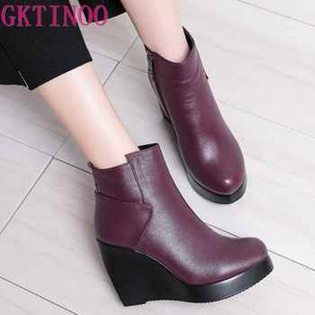 GKTINOO 2019 Genuine Leather Autumn Winter Boots Shoes Women Ankle Boots Female Wedges Boots Women Boot Platform Shoes - DISCOUNT ITEM  50% OFF All Category