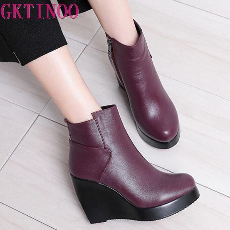 GKTINOO 2020 עור אמיתי סתיו חורף מגפי נעלי נשים מגפי קרסול טריזי מגפי נשים אתחול פלטפורמת נעליים-במגפונים מתוך נעליים באתר