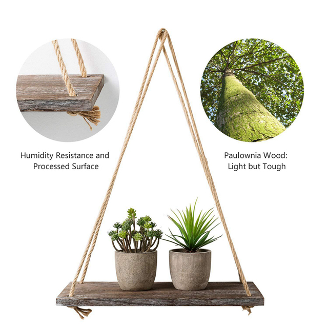 1 2 3 Tier Rustic Wooden Hanging Rope Shelf-Handmade Solid Wood Floating Shelves Home Decorative Wall Mounted Rack YYY8112 6