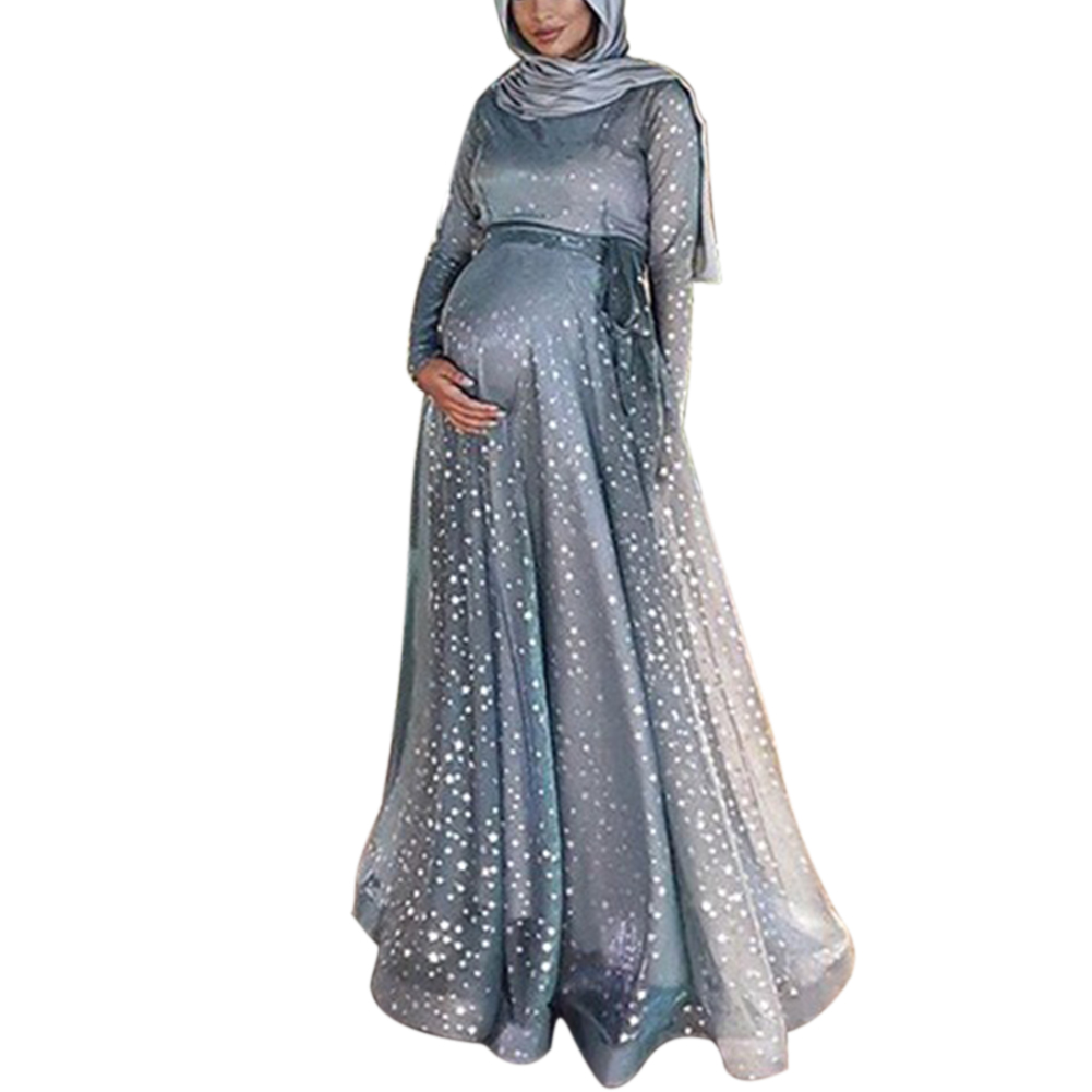 Women Evening Long Maxi Crew Neck Maternity Dress Muslim Long Sleeve Summer Digital Print Polyester Gown Fashion Cocktail Party