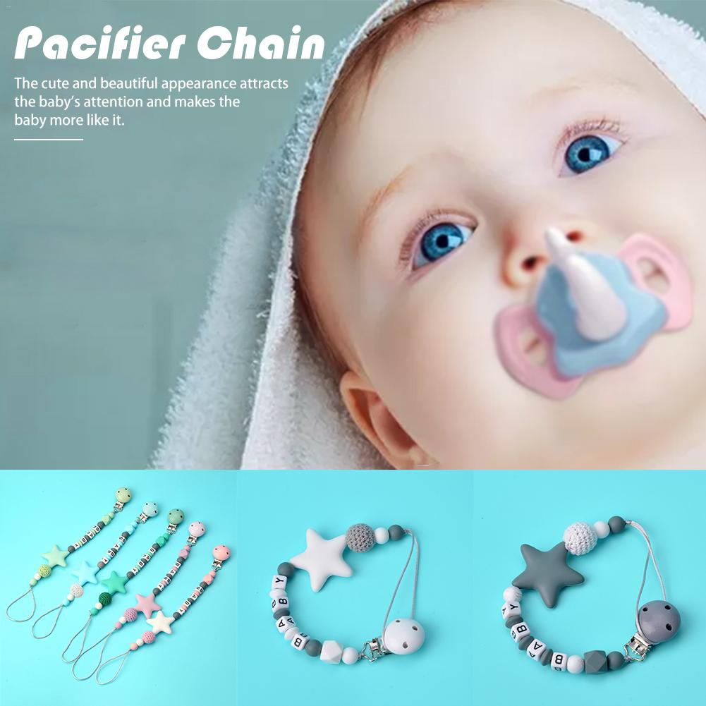 NEW Colorful Silicone Personalized Letter Pacifier Clips Funny Chupetero Chain For Infant Feeding Toddle Chew Toy Clips BPA Free