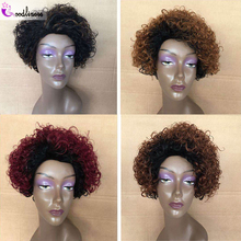 Ombre Short Jerry Curly Human Hair Bob Wig Full Machine 1B 27 30 Burgundy Machine Made Wig For Women Pre-Plucked Brazilian 150 cheap Goodliness Remy Hair Brazilian Hair Average Size Dark Brown Darker Color Only Elastic lace