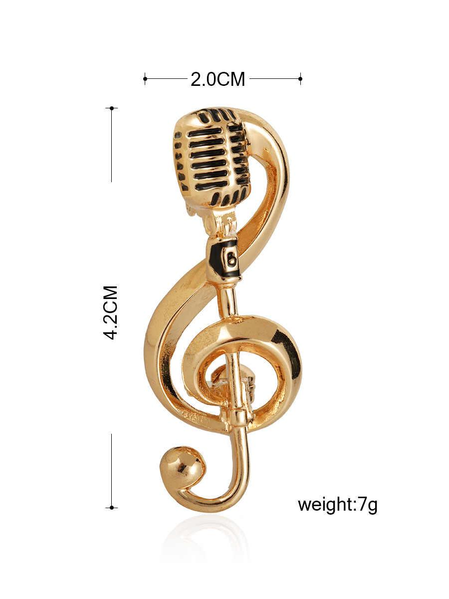 Blucome Della Nota di Musica Oro Microfono Spille a Forma di per Le Donne Degli Uomini Cantante Club Distintivo Vestiti Accessori Rock Spilla Spilli Regali