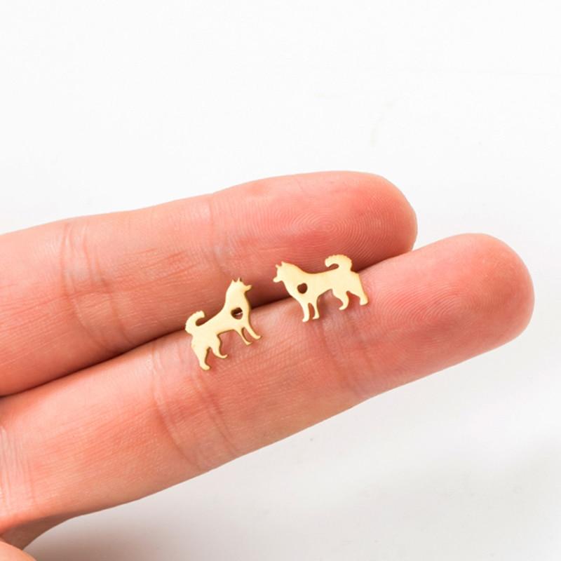Новинка 2019, модные минималистичные золотые серебряные серьги-гвоздики из нержавеющей стали с собачкой для женщин и девушек, украшения для ушей, ювелирный аксессуар
