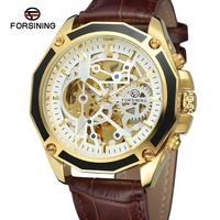 FORSINING watch fashion trend white dial black leather belt casual luxury automatic man wrist mechanical watch