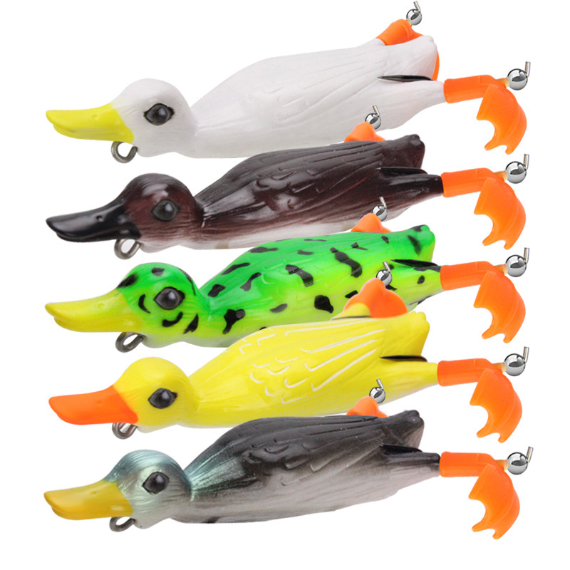 Fishing Frog Lure Propeller Foot Flippers Duck 11cm 25g Rotation Tractor Soft Bait Decoys Artificial Lures 1 Piece Sale
