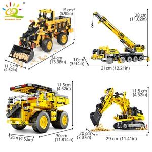 Image 2 - HUIQIBAO הנדסת דחפור מנוף טכני Dump משאית אבני בניין עיר בניית רכב רכב צעצוע לילדים ילדים מתנה