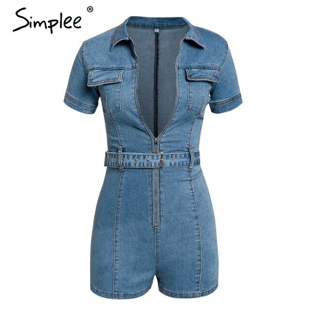 Simplee Sexy deep v-neck denim women playsuit Short sleeve belt zipper short jumpsuit Chic party club ladies jeans overalls 2019 6