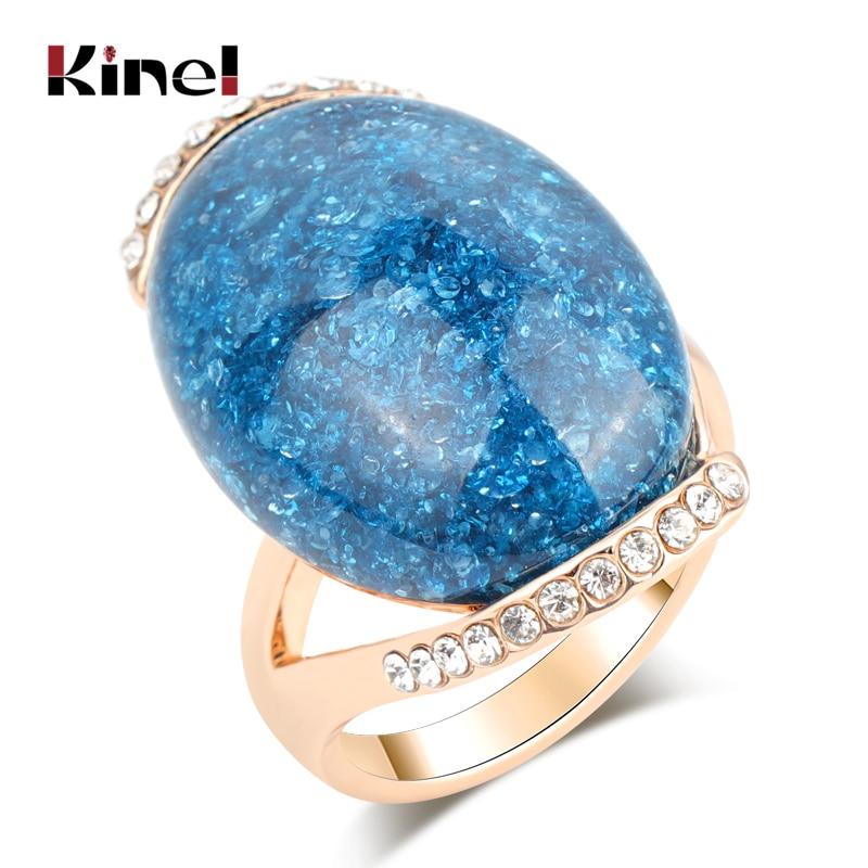 Kinel Hot Rose Gold Oval Pedra Azul Anéis de 2019 Anéis De Noivado Para As Mulheres Mais Recente Design de Jóias Vintage
