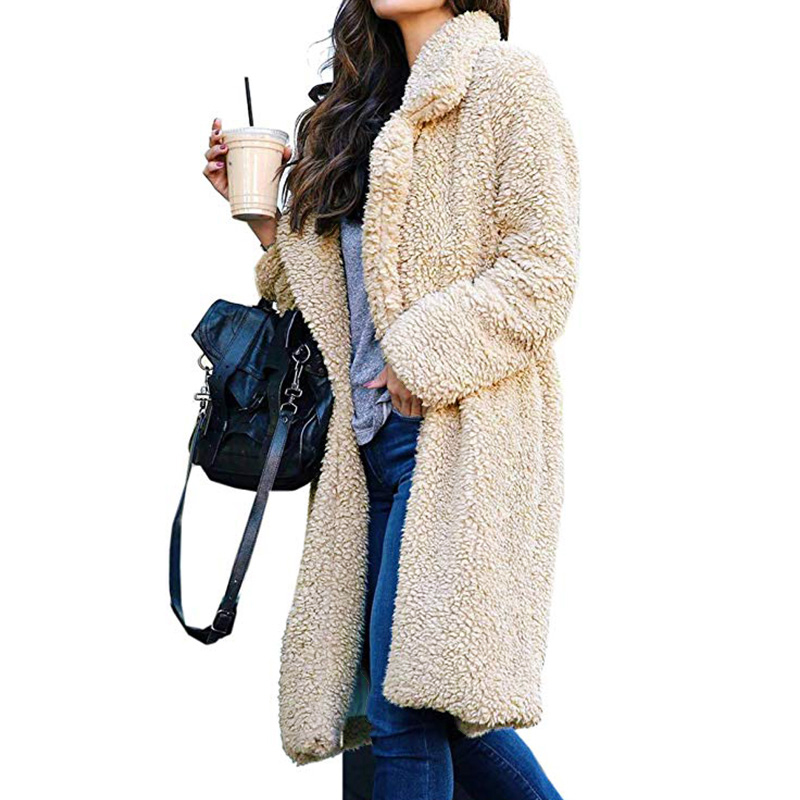 Women's Plush Coat Plus Size Lambwool Trench Coats 2019 Autumn Winter Hairy Long Sleeve Warm Thicken Jacket Long Faux Fur Jacket